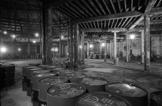 Inside the Roundhouse - Whiskey Barrels