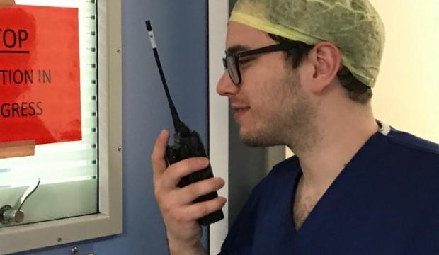 Hospital staff using radios